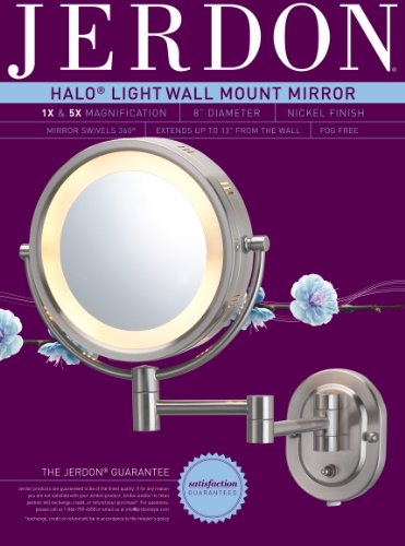 Jerdon Hl65n 8 Inch Lighted Wall Mount Makeup Mirror With