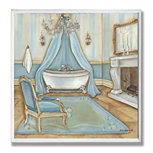 Decor Collection Blue With Chair Bathroom Wall Plaque Decorative