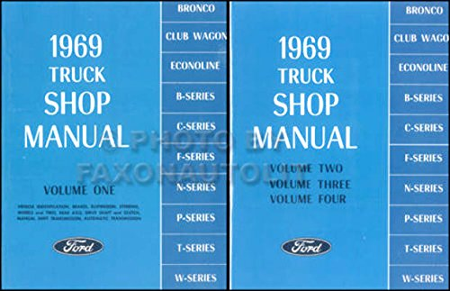 COMPLETE 1969 FORD TRUCK & PICKUP REPAIR SHOP & SERVICE 2 BOOK SET OF 4 MANUALS - F100 F150 F250 F350 F500 F600 TO F7000, WT-Series, L-Series, LN-series, N-Series, HT-Series (Transmission For F250 compare prices)