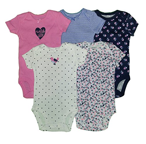Carters Baby Girls 5 Pack Bodysuits (Baby) - Wild About Daddy-6M