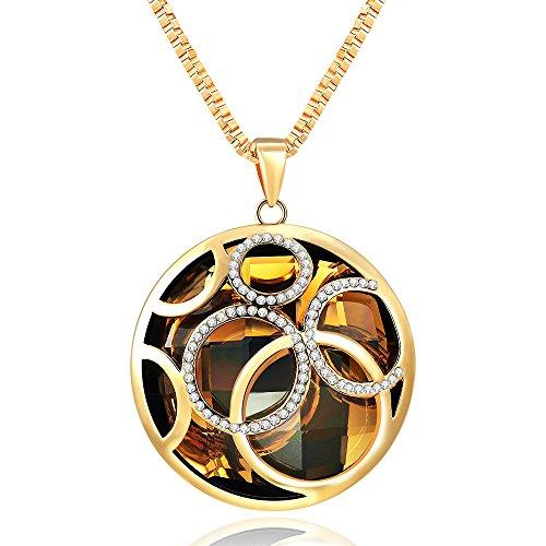 City Ouna® Swarovski Elements Tavolino in cristallo collana con una catena di maglia lunga per le donne/ragazze-oro placcato in lega moda gioielli