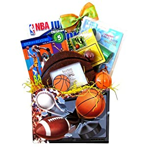 Basketball Gift Basket Perfect Birthday, Get Well Gift Bakstes for Kids Under 10 by Gift Basket 4 Kids