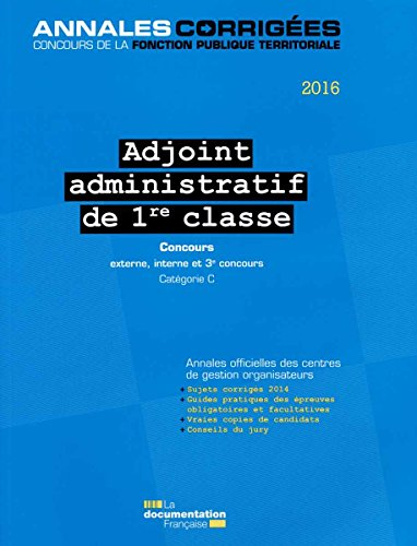 Adjoint administratif de 1re classe 2016