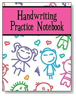 Handwriting Practice Notebook For Girls - Cute stick kids smile back at you from the cover of this handwriting practice notebook for younger girls.