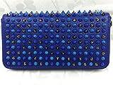 Christian Louboutin (クリスチャンルブタン)長財布 スパイクスタッズ付きラウンドファスナー[並行輸入品] ( Color : カラフルブルー )