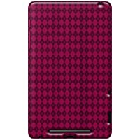 Amzer 95128 Luxe Argyle High Gloss TPU Soft Gel Skin Case - Hot Pink For Google Nexus 7, Asus Nexus 7