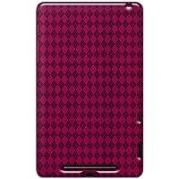 Amzer 95128 Luxe Argyle High Gloss TPU Soft Gel Skin Case - Hot Pink for Google Nexus 7, Asus Nexus 7