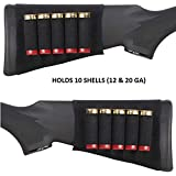 Ultimate Arms Gear Tactical Stealth Black 10 Round Shotgun Ammo Shot Shell Cartridge Hunting Stock Buttstock Slip Over Carrier Holder Fits 12 / 20 GA Gauge Ambidextrous Use for Both Righty and Lefty Shooters Mossberg 500/590/835/Maverick 88 Pump Action Sporter