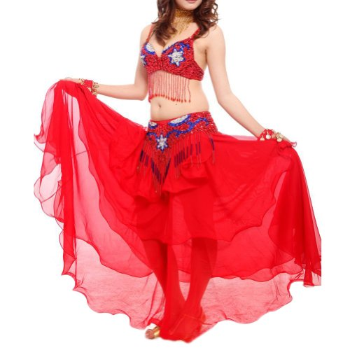 BellyLady Professional Full Belly Dancing Tribal Costume, Fringe Sequin Beaded Bra