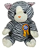 Cat soft toy 50cm tall with rosette and detachable badge with message Happy Birthday