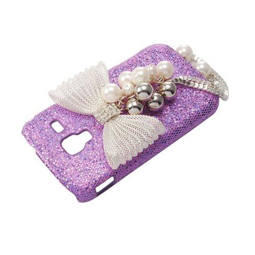 VCOER 3D Bling Strass Sparkle /lila Tasche Etui Mit Bogen weiß Bow Hartschale Case/Schutzhülle /Hülle Skin Handytasche Für Samsung Galaxy Ace 2 I8160 Smartphone