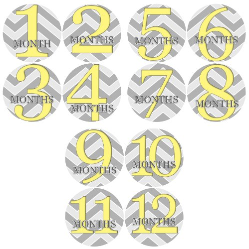 ZIG ZAG YELLOW GREY 1-12 Month Baby Monthly One Piece Stickers Baby Shower Gift Photo Shower Stickers