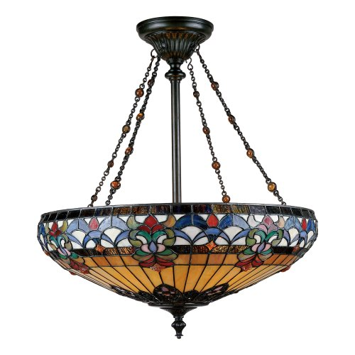 Quoizel Tf1781Vb Belle Fleur 28-Inch Pendant With Four Uplights, Vintage Bronze Finish