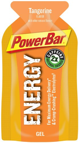 PowerBar Energy Gel, Double Caffeine, Tangerine, 1.44-Ounce Packets (Pack of 24)