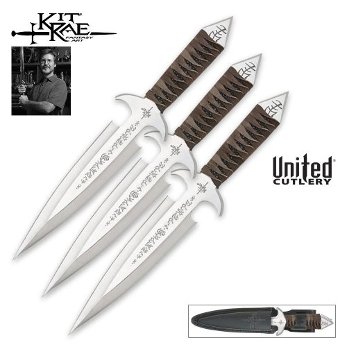United Cutlery Kr0035 Kit Rae Black Jet Thrower Dagger Triple Set