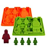 Teenitor Innovative Ice Cube Tray For Lego Lovers, Chocolate Molds, Ice Cube Molds, Silicone Baking Molds, PREMIUM Silicone Molds- Building Blocks and Robots - Deluxe 8 Piece Set
