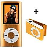 MP4 Player Portabel - microSD Steckplatz für Karten bis 16 GB, ohne internen Speicher - ORANGE - MP3 AMV, FM Radio, E-Book, integrierter Lautsprecher + Mini Clip MP3 Player BERTRONIC ®