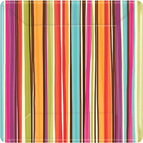 "Disposable Square Dessert Plates in Stylish Stripes Print (8 Pack), 7 x 7"", Multicolor"