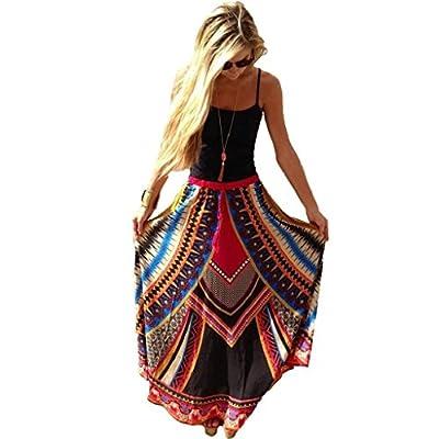 Changeshopping Sexy Women Elegant Vintage Print Bohemian Maxi Long Waist Skirts