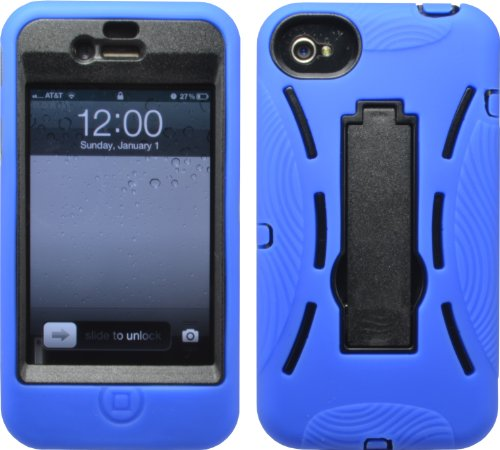 Blue Shock Proof Armored Defender Case/Cover With Stand For Iphone 4 4S 4G 4Gs