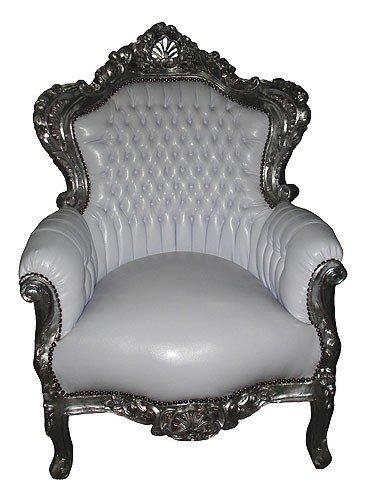 Barock Sessel 'King' Weiß/Silber