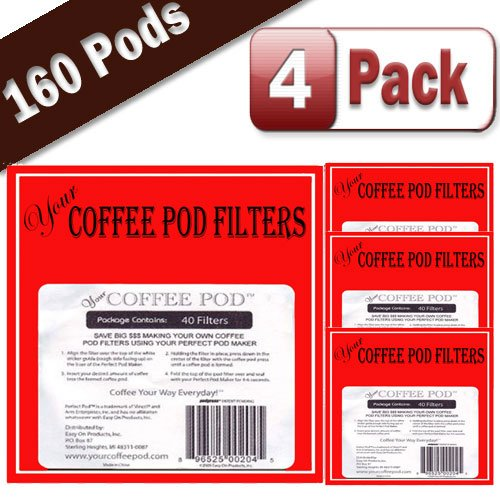 Your Coffee Pod Filters 4 Pack - 160 Total Filters for the Perfect Pod