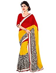 101cart Elegant Yellow And Red Colored Printed Georgette Saree