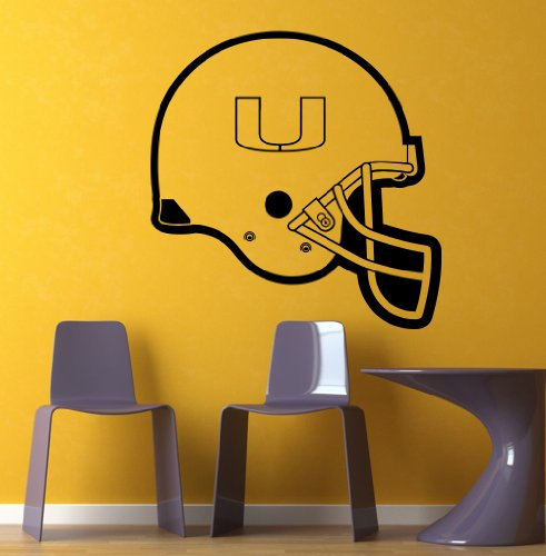 Ncaa Wall Mural Vinyl Sticker Gym Sports Logo Helmet Miami Hurricanes Da2974