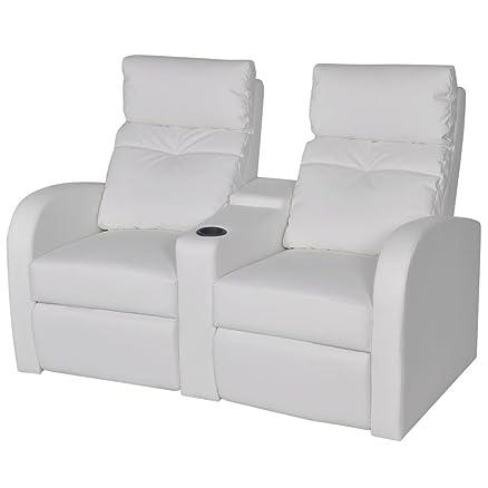 vidaXL Divano poltrona due posti reclinabile moderno arredo casa ecopelle bianca