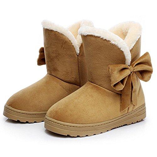 Minetom Donna Un Arco Alto Pelliccia Classico Autunno Inverno Neve Stivali Snow Boots ( Marrone EU 41 )