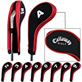 Callaway Number Print Golf Iron Covers with Zipper Long Neck 10pcs/set Black/red Mt/CL03