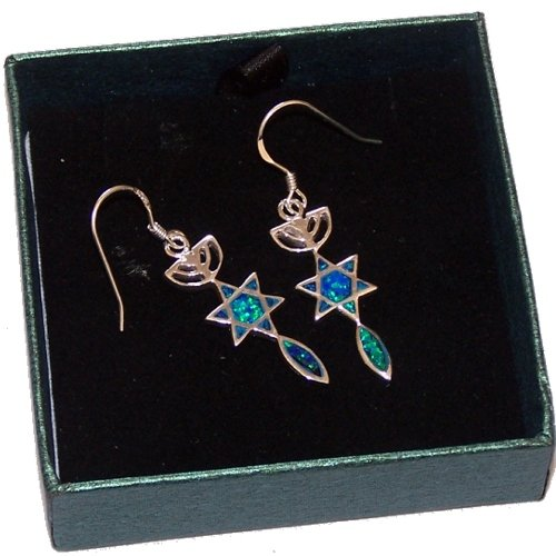 "Messianic Seal with Opal stone - Sterling Silver Earrings (2.5 cm or 1"" ) - Opal from both Sides."