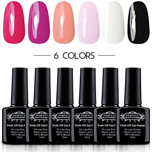 Perfect Summer Professional UV/LED Soak Off Gel Nail Polish, Classic French Manicure Colors Kit - Pack of 6, 10ml Each (French Manicure Nail Polish Set compare prices)