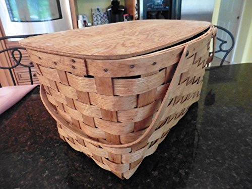 """Vintage Picnic basket wooden X-large 2 handles hinged top apx 20"""" x 12"""" x 10"""" 4"""