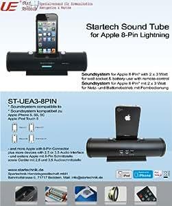 Soundsystem für Apple Iphone 5 iphone 5G iphone 5S und ipod Touch 5 mit 8-Pin Lightning Anschluss - Hifi- Soundtube Micro Stereo Dockingstation Audiosystem Anlage mit Fernbedienung & Lautsprecher 2 x 3 Watt - batteriebetieb 6 Stunden Playback -Farbe Schwarz