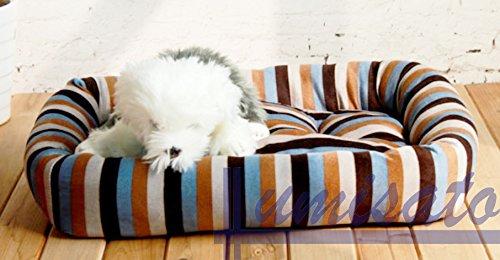 ストライプ カラフル な ぐっすり ふわふわ かわいい ペットベッド 小型犬用 (ブラウン, S)