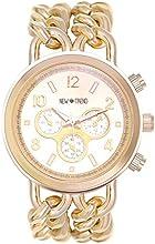 Reloj de pulsera para mujer, strass, acero inoxidable, movimiento de cuarzo, color dorado