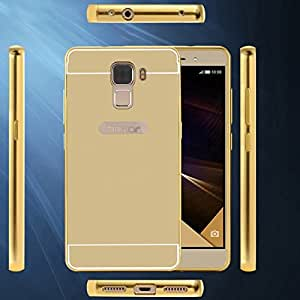 mobbysol luxury aluminium bumper with mirror acrylic back cover for Honor 7, Golden