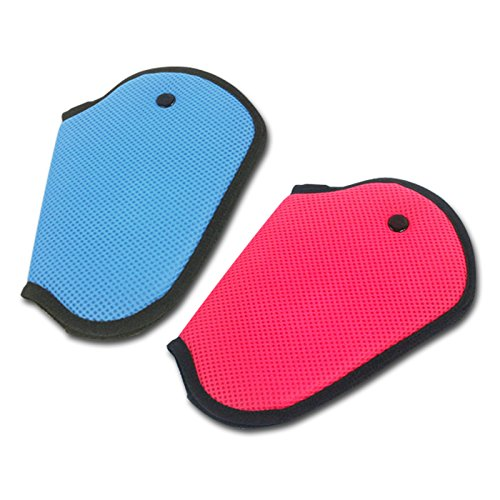 2pcs Car Child Safety Cover Harness Repositions Strap Adjuster Mash Pad Kids Seat Belt Seatbelt Clip Booster Adult Children Seat Belt Clips (blue 1pcs + pink 1pcs)
