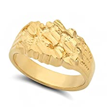 buy Men'S Large Wide Chunky 14K Yellow Gold Plated Classic Nugget Ring - Size 10.5