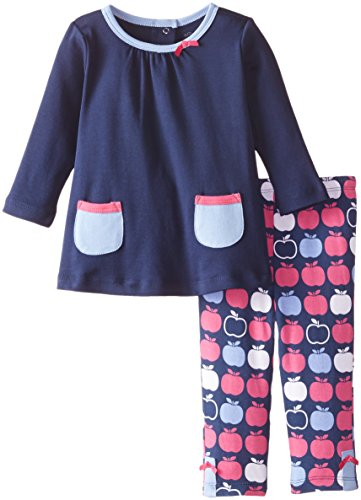 Offspring   Baby Apparel Baby Girls' Apple Tunic and Legging Set, Navy/Multi, 24 Months