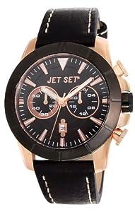 Jet Set J6339R-237 - Reloj cronógrafo de cuarzo para hombre con correa de piel, color negro