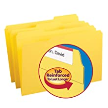 Smead 1/3-Cut File Folders, Heavy Duty Reinforced Tab, Legal Size, Yellow, 100 Per Box (17934)