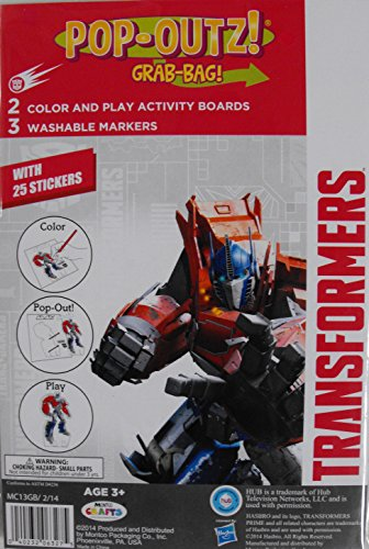 Transformers Pop Outz Color and Play Activity Boards Grab Bag by Montco Crafts