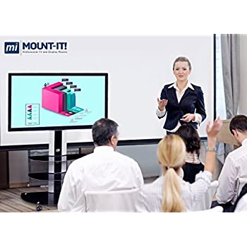 Mount-It! MI-873 TV Cart Mobile TV Stand with Mount and AV Shelves