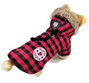 eSingyo English-Style Plaid Cotton Warm Winter Coat Jumper Hoodie Hooded Jacket Small Pet Dog Clothes Red M