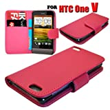 HTC One V Various Colour Smart Flip Wallet Pu Leather Phone Case Cover by eFeel (Pink)