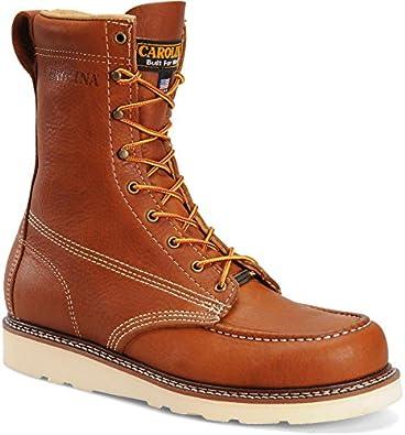 "Carolina Men's 8"" Steel Toe Moc Toe Domestic Wedge Work Boot Tobacco 7 D US"