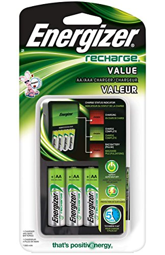 Energizer Recharge Value Charger with 4 AA NiMH Rechargeable Batteries Included (Energizer Battery Aa compare prices)
