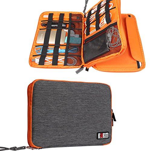 BUBM 二層式 9.7インチiPad/iPad Air/タブレットPCキャリングポーチ ケーブル/モバイルバッテリー/デジタル機器用収納ケース 豊富なカラー プレゼント(L,グレー&オレンジ)
